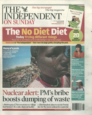 Independent On Sunday 2008 cover